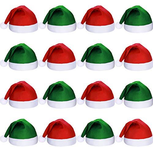 SATINIOR 16 Piezas de Tela no Tejida de Navidad Sombrero de Santa Claus Sombreros de Navidad Santa para Adultos (Verde y Rojo)