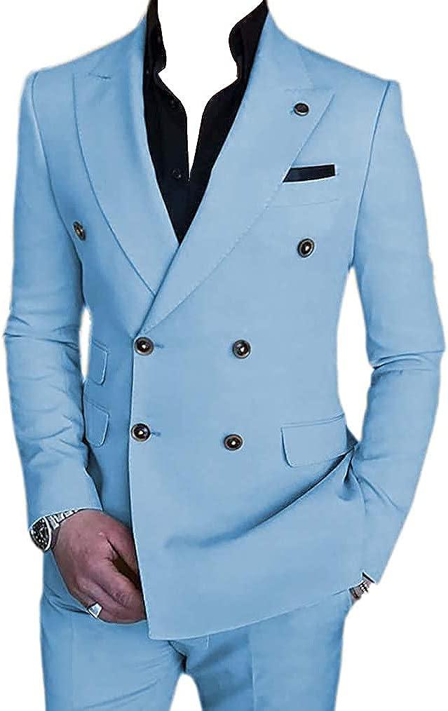 Men's Suit 2 Pieces Slim Fit Formal Double Breasted Wedding Suit Sets Blazer for Groomsmen