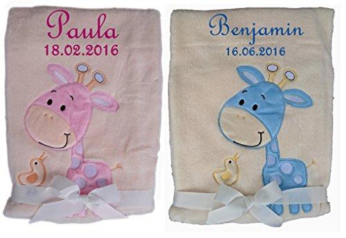 *Babydecke beige Giraffe mit Namen bestickt Taufe Baby Geburt (rosa)*
