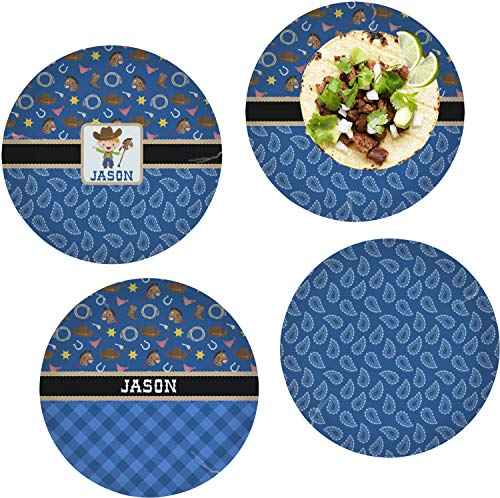 Cheap Blue Western Set of 4 Glass Lunch/Dinner Plate 10 (Personalized)