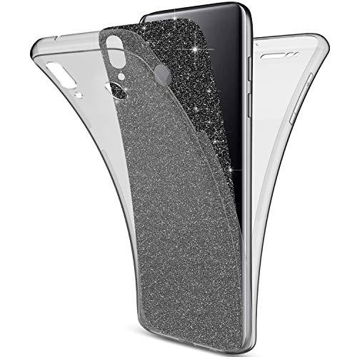 Uposao Kompatibel mit Samsung Galaxy M20 Hülle 360 Grad Full Cover Kristall Bling Glitzer Durchsichtig Rundum-Schutz Beidseitiger Schutzhülle Komplett Handyhülle Silikon Case,Schwarz