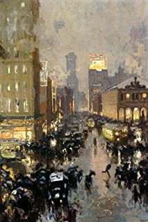 A RAINY NEW YORK STREET HERALD SQUARE BROADWAY BY CHARLES HOFFBAUER PRINT REPRO