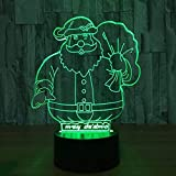 Santa Claus 7-Color Light 3D Vision Led Night Light Para Niños Touch Usb Table Light Baby Sleep Night Light Juguete De Regalo