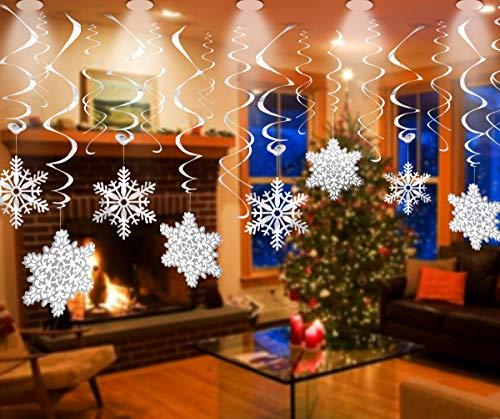 WallDecalsAndArt Winter Snowflake Decorations (30PCS) for Christmas, White Snowflake Ornaments for Xmas, Hanging Swirl Decorations - Winter Wonderland/Xmas