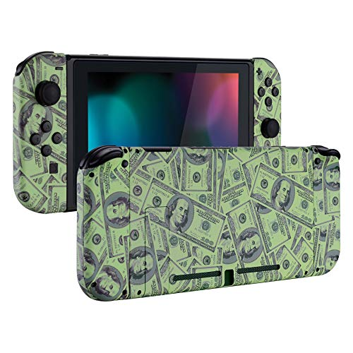 eXtremeRate Soft Touch Grip Back Plate for Nintendo Switch Console, NS Joycon Handheld Controller Housing with Full Set Buttons, DIY Replacement Shell for Nintendo Switch - 100$ Cash Money Patterned