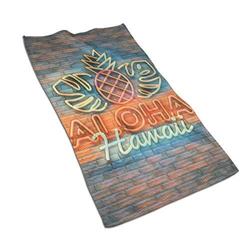 XCNGG Aloha Letrero de neón Aloha Hawaii Design Toallas de mano para baño Toalla suave absorbente de microfibra para el hogar y la cocina de 27.5 x 17.5 pulgadas para playa, viajes, natación, piscina,