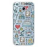 dakanna Funda para [Samsung A5 2017] Dibujo: Simbolos Medicina Enfermera Ambulancia Corazón Hospital, Carcasa de Gel Silicona Flexible [Fondo Transparente]