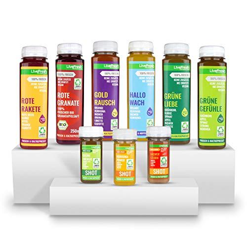 LiveFresh® Saftkur für 7 Tage - Kurkuma, Ingwer, Zitrone, Äpfel, Cayenne, Limette, Orange und Guarana - Kaltgepresst - Ohne Zucker & Zusätze