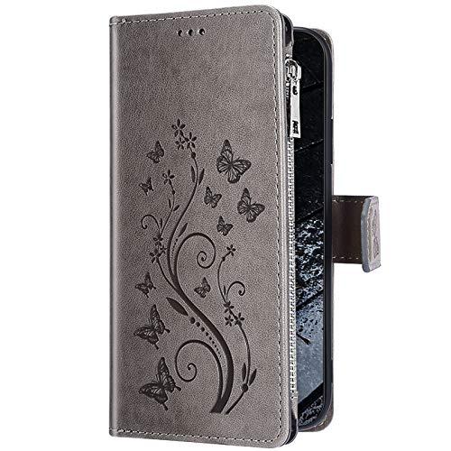 Uposao Kompatibel mit Huawei P20 Lite Hülle Leder Handytasche Schmetterling Blumen Schutzhülle Flip Wallet Case Geldbörse mit Kredit Kartenfächer Leder Hülle Klapphülle Magnet,Grau
