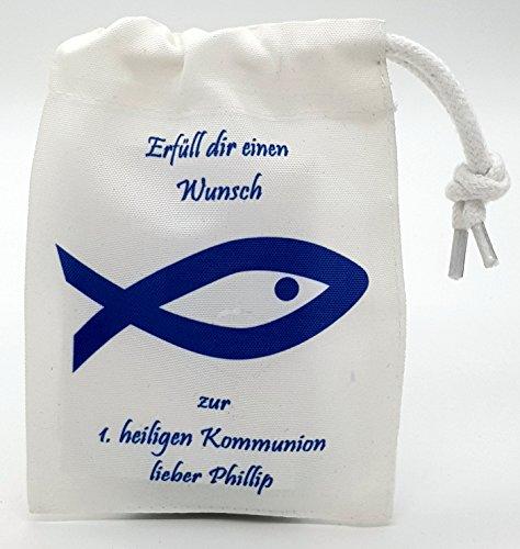 Geschenk Kommunion Verpackung für Geld verpacken– personalisiert mit Name Kommunionskind Fisch Geldgeschenk