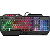 Teclados Gaming, Rii RK202 Teclado Gaming, Teclado USB, Teclado Gaming PS4 LED Retroiluminado con Cable USB, Teclado para PC / Laptop / PS4 / Xbox One (Teclados Español, Negro)