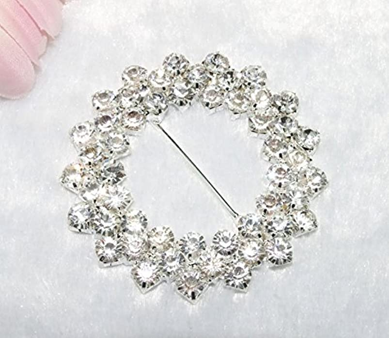 10 Pieces 2-1/2 inches 2 Rows Clear Rhinestone Round Buckle Invitation Ribbon Slider Wedding Supply Gift Wrap Hairbow Center utoncguy989471