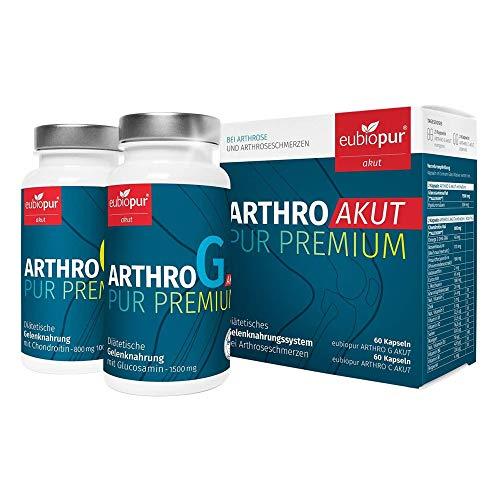 eubiopur Arthro Akut Pur Premium G+C| Gelenkkapseln hochdosiert | Monatsbox | 60 Glucosaminsulfat mit Hyaluronsäure und 60 Chondroitinsulfat Kapseln gegen Arthrose| Diätetische Gelenknahrung aus DE