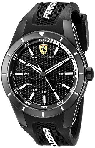Ferrari 0830249 RedRev - Reloj analógico de pulsera para hombre (cuarzo, correa de silicona)