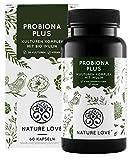 NATURE LOVE® Probiona PLUS - 120 Mrd KBE je Tagesdosis (hochdosiert) - 20 Bakterienstämme + Bio Inulin - Magensaftresistente Kapseln - Vegan, in Deutschland produziert