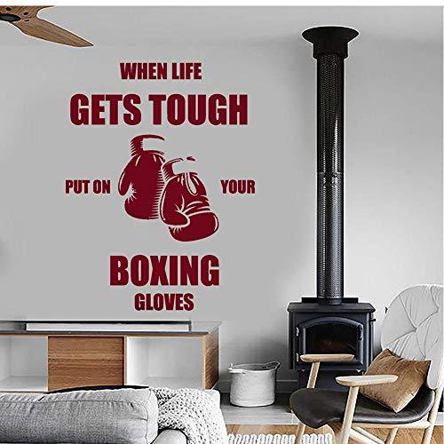 MRQXDP Calcomanías de pared de boxeo Cotizaciones Cuando la vida se pone difícil Póngase sus guantes de boxeo Vinilo Adhesivo de pared para gimnasio Decoración de dormitorio 57x74cm