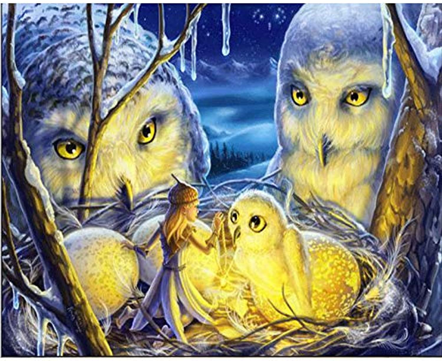 DIY Oil Paint by Number Kit for Adults Beginner 16x20 Inch - Winter Owls,Drawing with Brushes Living Room Decor Decorations Gifts (Framed)