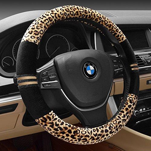 """HCMAX Prämie Plüsch Weich Fahrzeug Lenkradabdeckung Bequem Winter Auto Lenkradschutz Universal Durchmesser 38cm (15\"""") Leopard-Druck"""