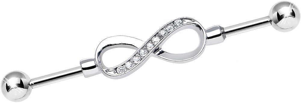 Body Candy Steel Clear Endless Elegance Infinity Symbol Helix Earring Industrial Barbell Piercing 14 Gauge 38mm