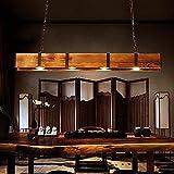 FUMIMID lampara colgante Vintage Madera Maciza 4 Luces Lámpara de Techo Colgante Industrial Placa de Techo de Metal Negro araña Foco Retro para Comedor Café Hotel Oficina Cocina Decoración