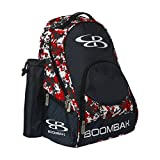 Boombah Tyro Baseball/Softball Bat Backpack - 20' x 15' x 10' - Camo Black/Red - Holds 2 Bats up to Barrel Size of 2-5/8'