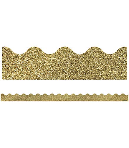 Carson Dellosa Decorative Sparkle and Shine Gold Glitter Scalloped Borders (108319)