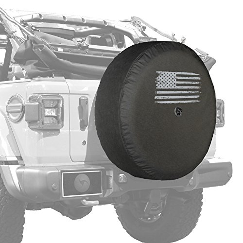 "Boomerang - 33"" Soft JL Tire Cover for Jeep Wrangler JL (with Back-up Camera) - Rubicon (2018-2020) - Distressed American Flag"