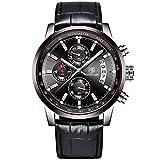 Benyar, orologio da polso al quarzo impermeabile, con cinturino in pelle e cronografo, multifunzione, per uomo