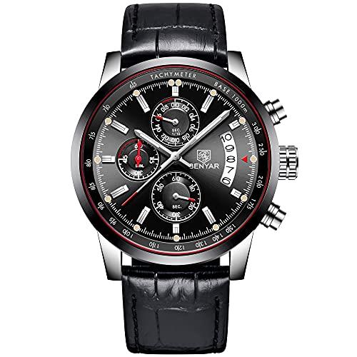 BENYAR Reloj de pulsera de cuarzo con cronógrafo resistente al agua, para negocios, multifunción, diseño deportivo, correa de piel, para hombres (5102A negro)