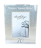 """PRODUCT: A Boxed, Personalised Age 70th Birthday Frame For Him Or Her. The Perfect Keepsake Gift For Family Or Friends To Give For This Milestone Age Occasion. Portrait Frame Size: 7x9"""". Photo Space Holder Measures: 4x6"""". DESIGN: A Freestanding, Glas..."""