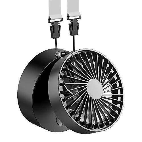 EasyAcc Mini Ventilator Halskette Lüfter Handventilator Personal Fan Faltbar 2600mAh 3 Geschwindigkeiten für Innen Reisen Außenbereich Schwarz