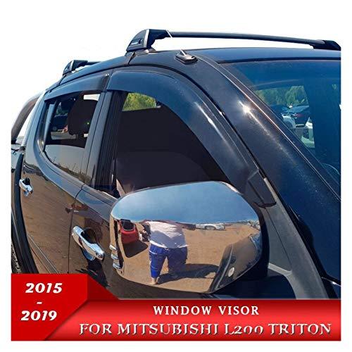 JHDS Windabweiser Für Mitsubishi L200 2016 2017 2018 2019 2019 2020 RAM L200 Fenster Deflectors Strada Strakar Barbarisch Schwarze Farbe Klebeband Außenvisiere