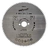 Wolfcraft 6268000 Lame scie circulaire CV 100Dts Diamètre 160 x 20 mm,argent