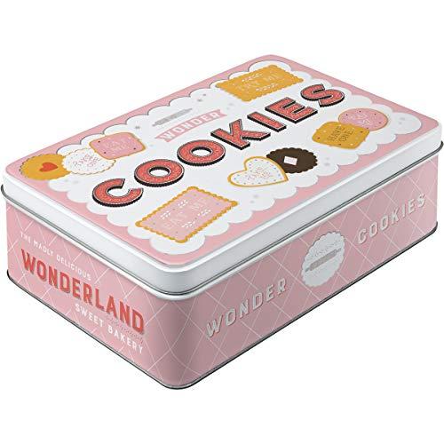 Nostalgic-Art Retro flach Vorratsdose, Blech-Dose mit Deckel, Wonder Cookies, 2,5 l
