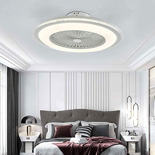 Iluminación moderna ventiladores de techo acrílicos con iluminación LED empotrada de techo con mando a distancia regulable cuchilla oculta, velocidad ajustable