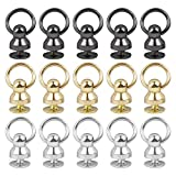 AUEAR, 30 Sets Screwback Round Head Rivet with Pull Ringwith Srews for Leather Craft Silver Black Gold