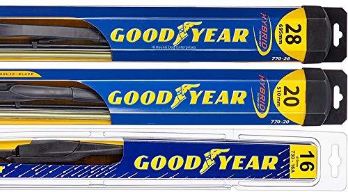 Windshield Wiper Blade Bundle - 4 Items: Driver, Passenger Blade & Rear Blade & Reminder Sticker (Hybrid with Goodyear Rear) fits 2011-2015 Toyota Sienna