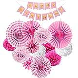 HONGECB Decoración de la Fiesta, Paper Pompoms, Flowers Decorados, pompones de papel de seda, Pancarta de Happy Birthday, para Boda Cumpleaños Navidad (Rosa, blanco)