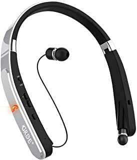 Bluetooth Headset, GRDE Bluetooth Headphones Wireless Stereo Neckband Foldable Sport Earbuds with Mic Retractable Bluetooth Earphones Compatible for X/8/7 Plus Samsung Galaxy S7 S8 S9 (Silver)