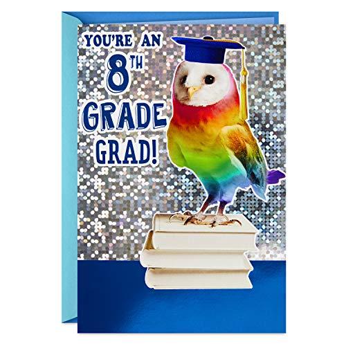 Hallmark 8th Grade Graduation Card (Rainbow Owl, Bright One), Model Number: 499GGJ3027