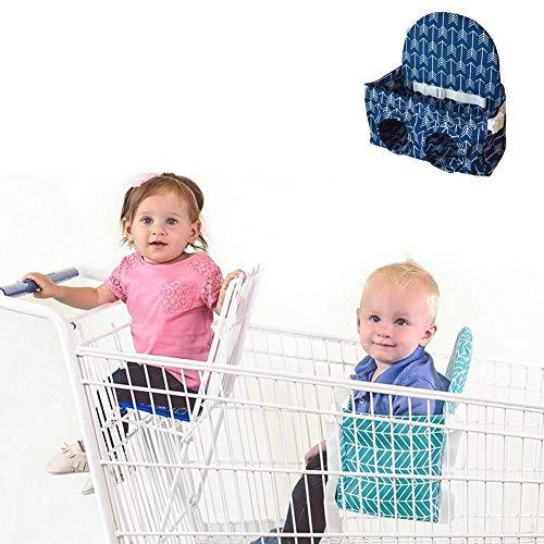 Baby-Einkaufswagen-Sitz-Hochstuhl-Schutz-Kleinkind-Sitzbezug-Plüsch-Sitzauflage, Sicherheitsgurt, Maschinenwaschbar für Zwillinge Jungen-Mädchen blau