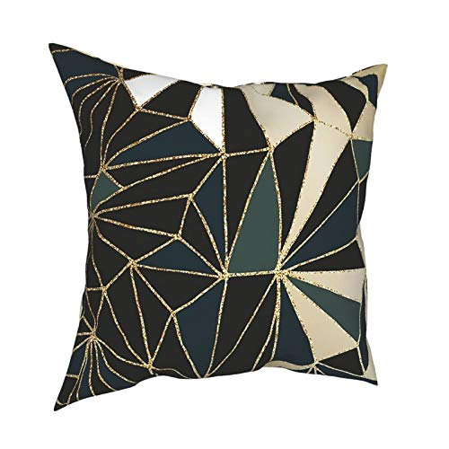 Cushion Covers Solid Soft Home Decorative New Art Deco Geometry Emerald Green & Gold Throw Pillow Cases Square Cushion Covers for Livingroom Sofa Bedroom with Invisible Zipper 20X20inch