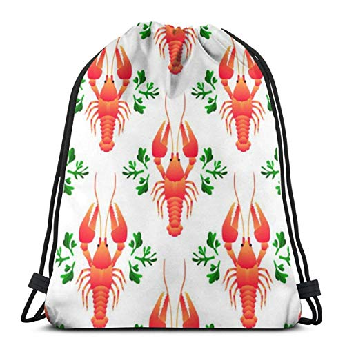 BXBX Bags Red Crayfish Seamless Pattern Flat Gradient Sea Sports Rucksack for Kids and Women, Travel Sack for Swimming, Sport, Beach