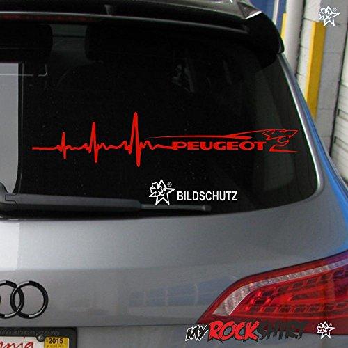 myrockshirt Herzschlag Aufkleber Peugeot+ Löwe ca. 30x7 cm Scheibe Sticker Lack Tuning Windschutzscheibe