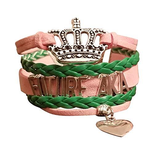 Greekin' It Future AKA Girls Charm Bracelet | Sorority Paraphenalia (Large (Ages 10+))
