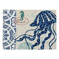 ランチョンマット 4枚セット おしゃれ 単層印刷 綿とリネン プレースマット 海洋生物シリーズ 大きな青いタコ ランチマット 布 華やか卓上飾り 高温耐性滑り止め防しわ 西洋料理マット コーヒーマット家庭 レストラン 用 贈り,32X42cm