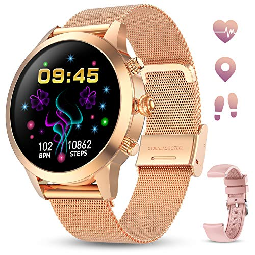 GOKOO Smartwatch Full-Touchscreen Bluetooth Armbanduhr für Android IOS Damen Fitness Tracker Herzfrequenz Schlafüberwachung Kalorien Schrittzähler IP68 Wasserdicht Frauen Sportuhr