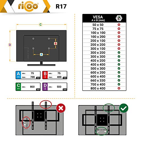 Wandhalterung TV Neigbar 32-40-42-50-55-65 Zoll R17 |RICOO| Flachbild-Fernseher LCD Wandhalter Flach-Bildschirm Ultra-Slim Wand-Halterung OLED 4K Fernseh-Wandhalterungen Universal Fernseh-Halterung | VESA 400×400 / 600×400 | Wandabstand 65mm | - 6