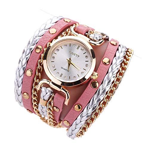 ¡Promoción! Relojes de Pulsera para Mujer Liquidación Relojes de señora Relojes Femeninos de Cuero en Oferta Relojes (Rosa)