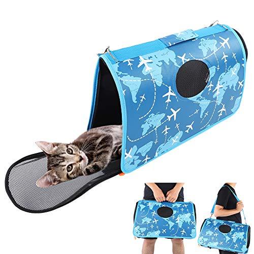 51 x 22 x 30 cm Pet Carrier para Mascotas de un Solo Hombro Paquetes de Viaje salientes Bolso Plegable para Perros y Gatos(Azul)